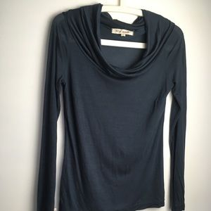 Nicole Bridger Grey Fitted Long Sleeve Cowl Neck